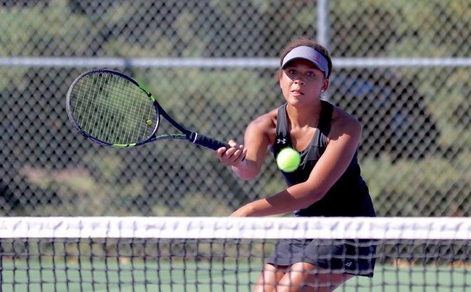 Katelynn Sanger's volley just skims the net.jpg